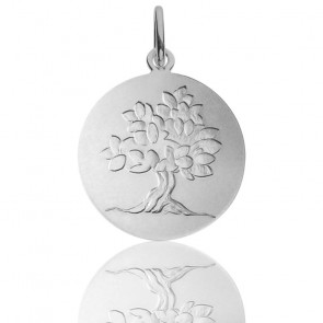 Médaille Arbre de Vie Feuillage Printanier argent