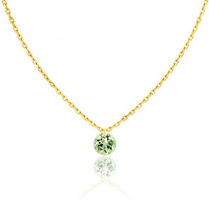 Collier Saphir Vert percé 0,30 ct & Or jaune 18K