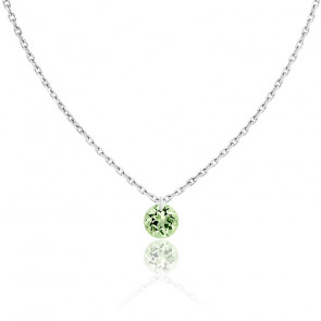 Collier Saphir Vert percé 0,30 ct & Or Blanc 18K