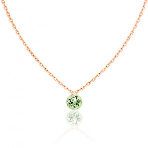 Collier Saphir Vert percé 0,30 ct & Or Rose 18K