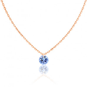 Collier Saphir percé 0,30 ct & Or Rose 18K