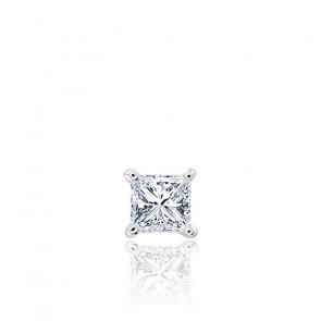 Puce d'oreille diamant princesse & or blanc 18 carats