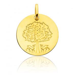 Médaille Arbre de Vie Biche Or Jaune 18K