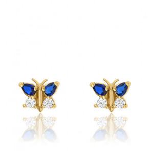 Boucles d'oreilles papillon bleu or jaune