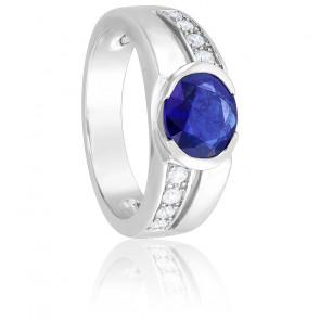 Bague Or Blanc 18K Saphir & Diamants