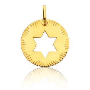 Médaille Etoile de David Ajourée Or Jaune 18K