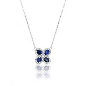 Collier Trèfle Or Blanc 18K Saphirs & Diamants
