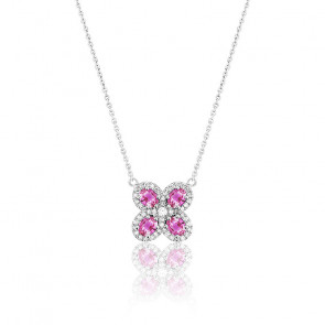 Collier Trèfle Or Blanc 18K Saphirs Roses & Diamants