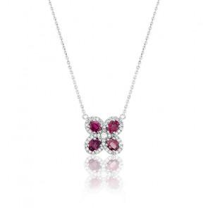 Collier Trèfle Or Blanc 18K Rubis & Diamants