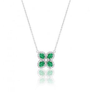 Collier Trèfle Or Blanc 18K Emeraudes & Diamants