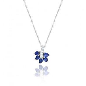 Collier or blanc 18K saphirs & diamants