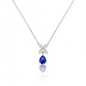 Collier Magnolia Or Blanc 18K Saphir & Diamants