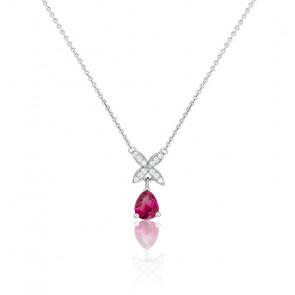 Collier Magnolia Or Blanc 18K Rubis & Diamants
