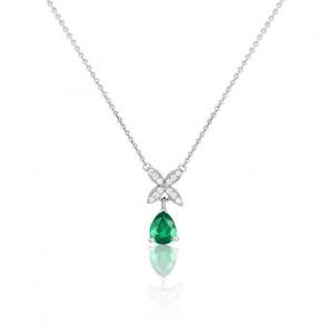 Collier Magnolia Or Blanc 18K Emeraude & Diamants