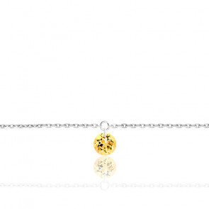 Bracelet Saphir Jaune percé 0,30 ct & Or Blanc 18K