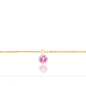 Bracelet Saphir Rose percé 0,30 ct & Or Jaune 18K
