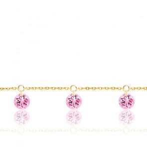 Bracelet 3 Saphirs Roses Percés & Or jaune 18K