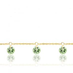 Bracelet 3 Saphirs Verts Percés & Or jaune 18K