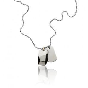 Collier double plaque effet chromé acier, DX1143040
