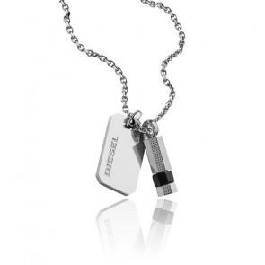 Collier plaque acier et pendentif obsidienne, DX1156040