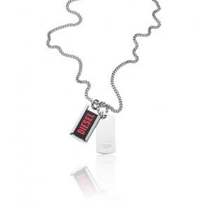 Collier double plaque Diesel rouge agate et acier, DX1244040