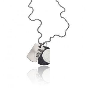 Collier double plaque Mohican cuir et acier, DX0289040