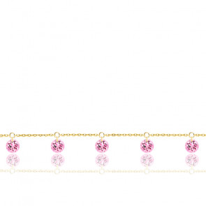 Bracelet 5 Saphirs Roses Percés & Or Jaune 18K