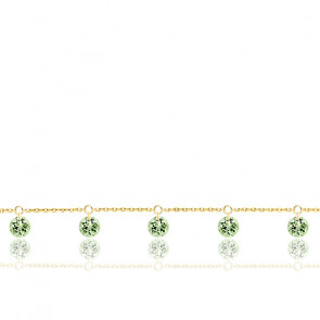 Bracelet 5 Saphirs Verts Percés & Or Jaune 18K