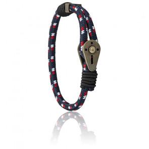 Bracelet Spinnaker Pulley en nylon bleu, blanc et rouge, SP-PULLEY-BRACELET-L03