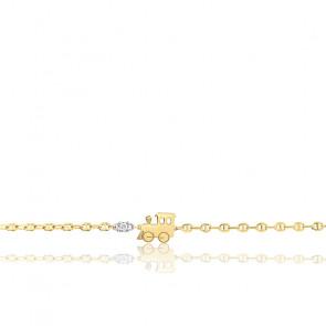 Bracelet Petit Train Or Jaune 18K & Diamant