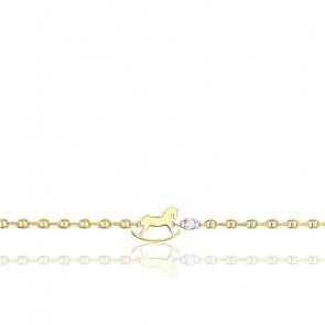Bracelet Cheval à Bascule Or Jaune 18K & Diamant