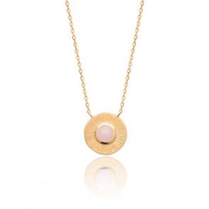 Collier plaqué or & quartz rose