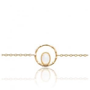 Bracelet plaqué or 3 microns & pierre de lune