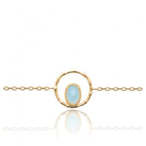 Bracelet plaqué or 3 microns et agate bleue