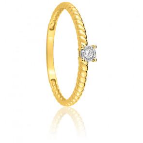 Bague Torsadée & Diamant Or Jaune 9K
