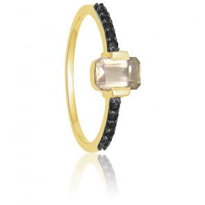 Bague accompagnée or jaune, quartz rose et diamants noirs