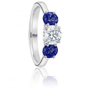 Bague Trilogie Hébrides Diamant & Saphirs  Or Blanc 18K
