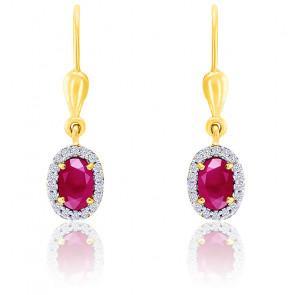Boucles d'oreilles Rubis Diamants Or 18K