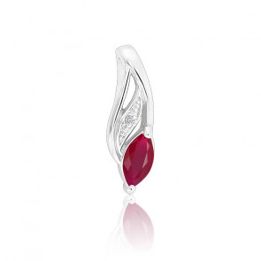 Pendentif Rubis Marquise & Diamants Or blanc 18K