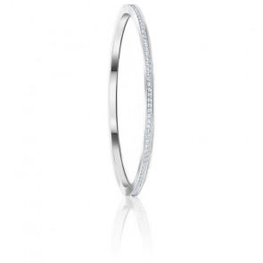 Bracelet-jonc Rare, blanc, métal rhodié