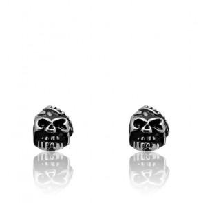 Boucles d'oreilles Gothik acier et têtes de mort HBO631