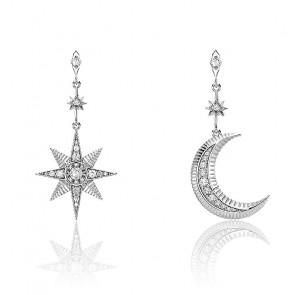 Boucles d'oreilles Royalty Etoile & Lune Argent, H2026-643-14