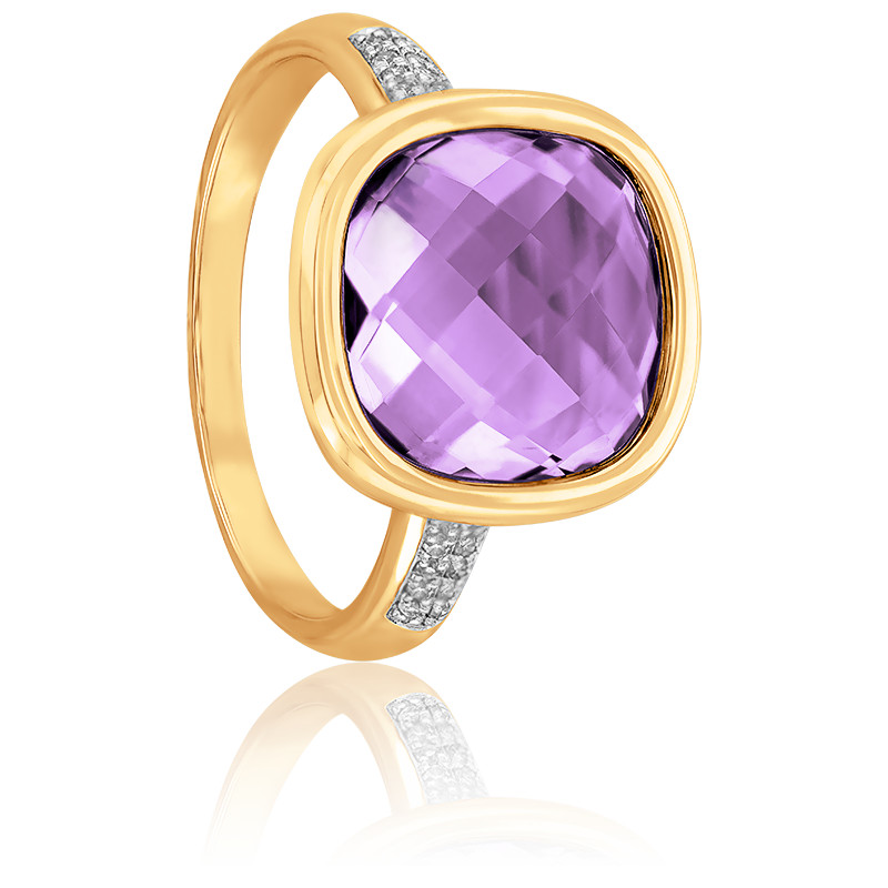 Bague, Or jaune 9K, Améthyste & Diamants