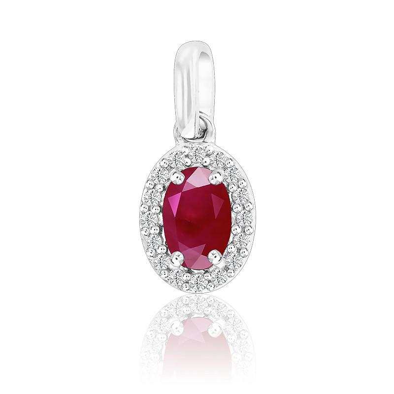 Pendentif Ovale Rubis & Diamants Or Blanc 18K
