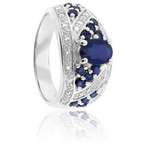 Bague Or Blanc 9K Saphir & Diamants