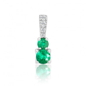 Pendentif Emeraudes & Diamants Or Blanc 18K