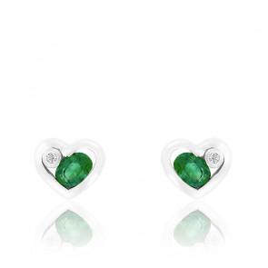 Boucles d'oreilles Coeur or blanc 9K Diamant & Emeraude