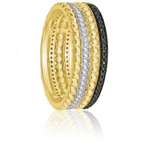 Bague Multiple Anneaux, Or jaune & Diamants Noirs