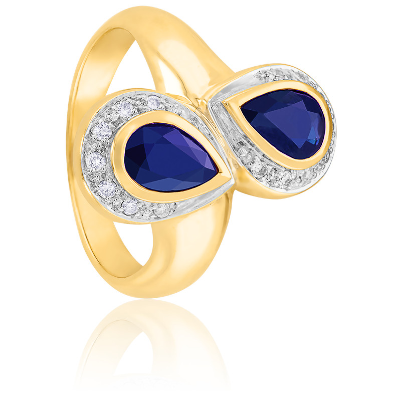 Bague Polie, Or jaune 9K, Saphirs & Diamants