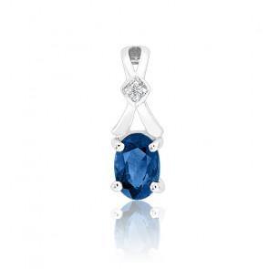Pendentif Saphir & Diamant Or blanc 18K